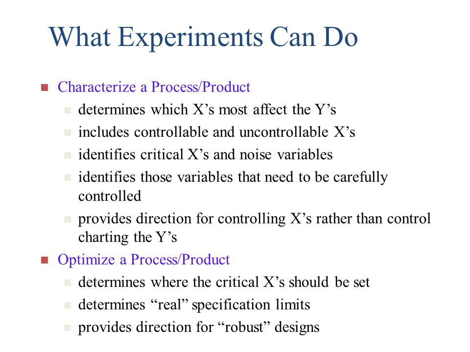 What Experiments Can Do