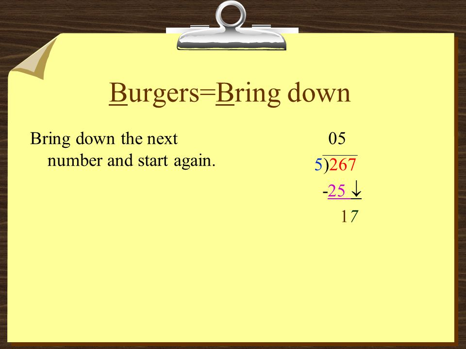 Burgers=Bring down Bring down the next number and start again. 05
