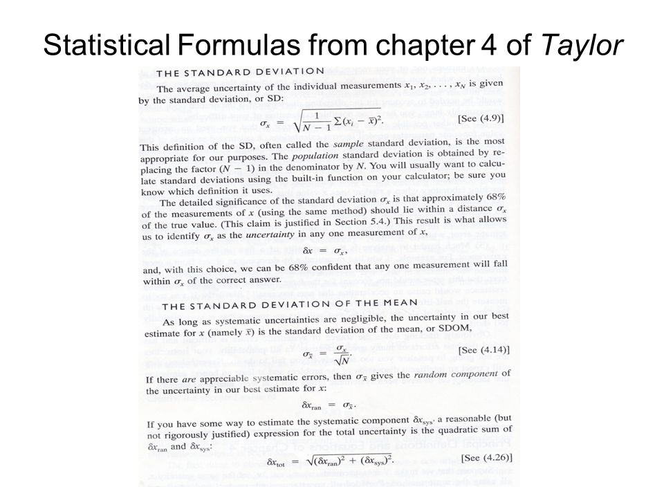 Statistical Formulas from chapter 4 of Taylor