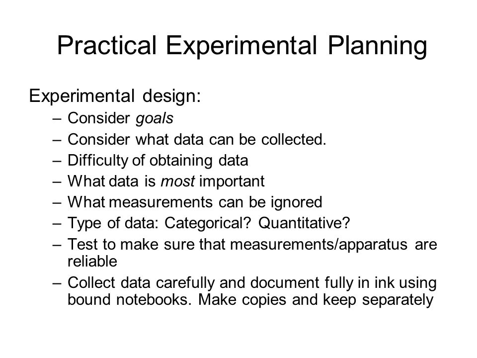Practical Experimental Planning