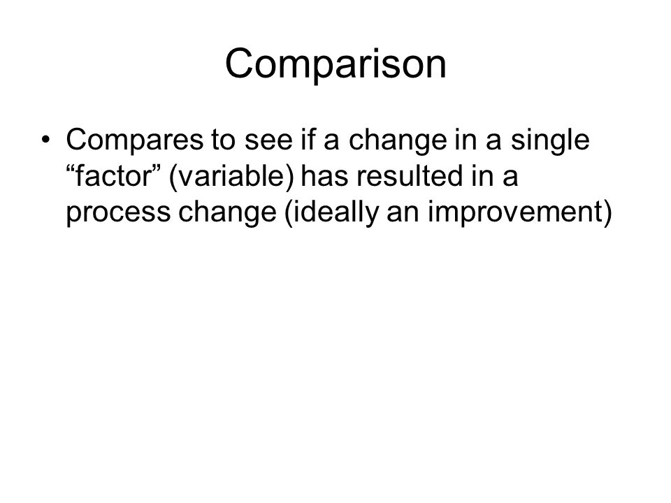 Comparison Compares to see if a change in a single factor (variable) has resulted in a process change (ideally an improvement)
