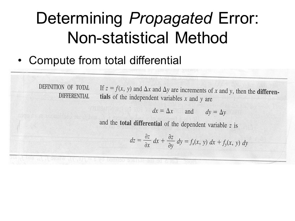 Determining Propagated Error: Non-statistical Method