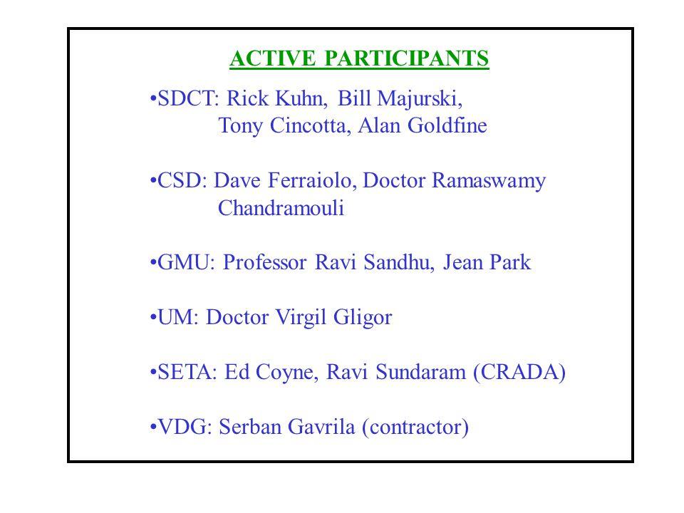 ACTIVE PARTICIPANTS SDCT: Rick Kuhn, Bill Majurski, Tony Cincotta, Alan Goldfine. CSD: Dave Ferraiolo, Doctor Ramaswamy.