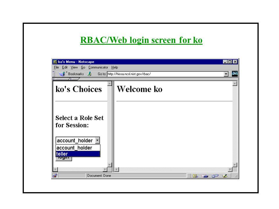 RBAC/Web login screen for ko