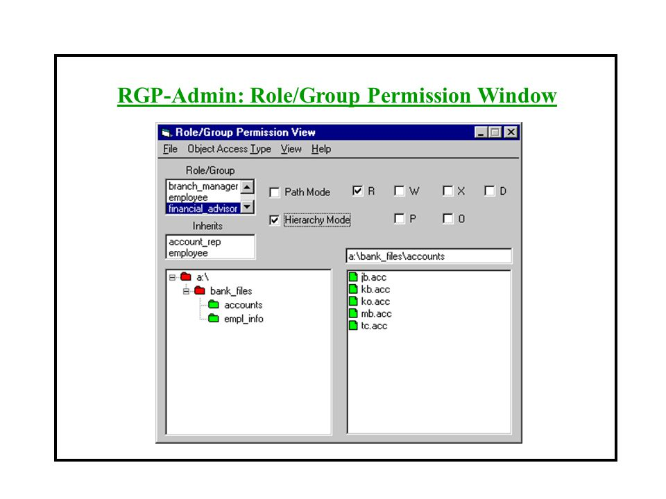 RGP-Admin: Role/Group Permission Window