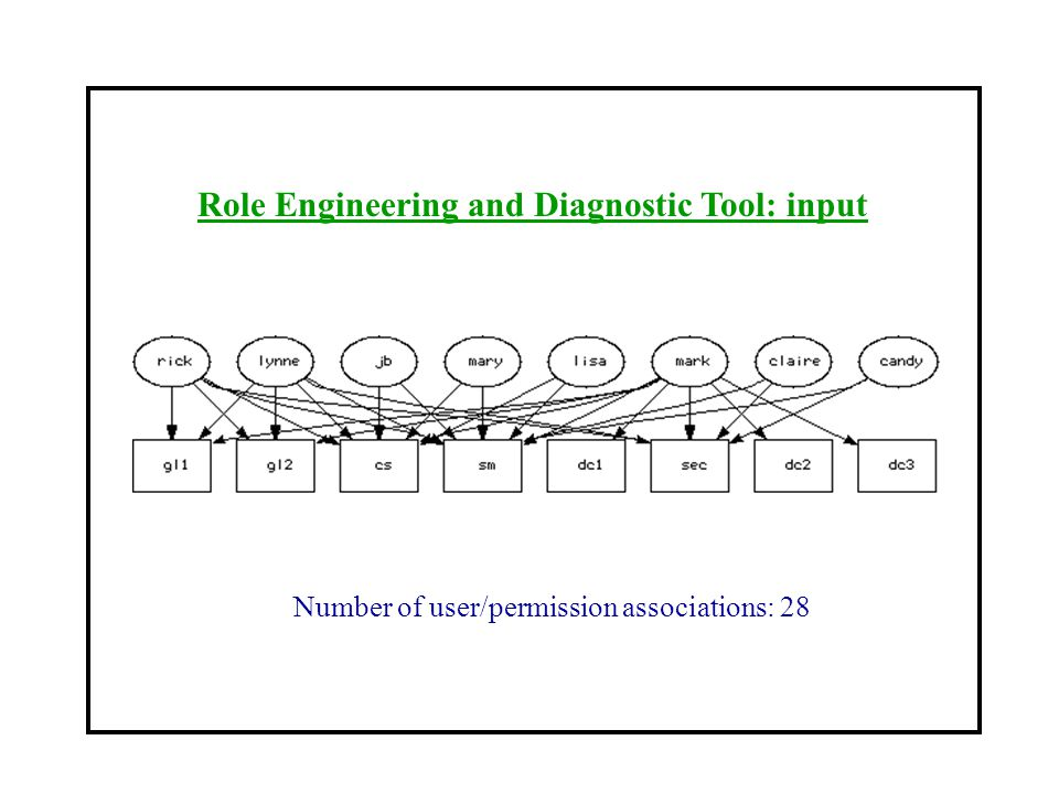 Role Engineering and Diagnostic Tool: input