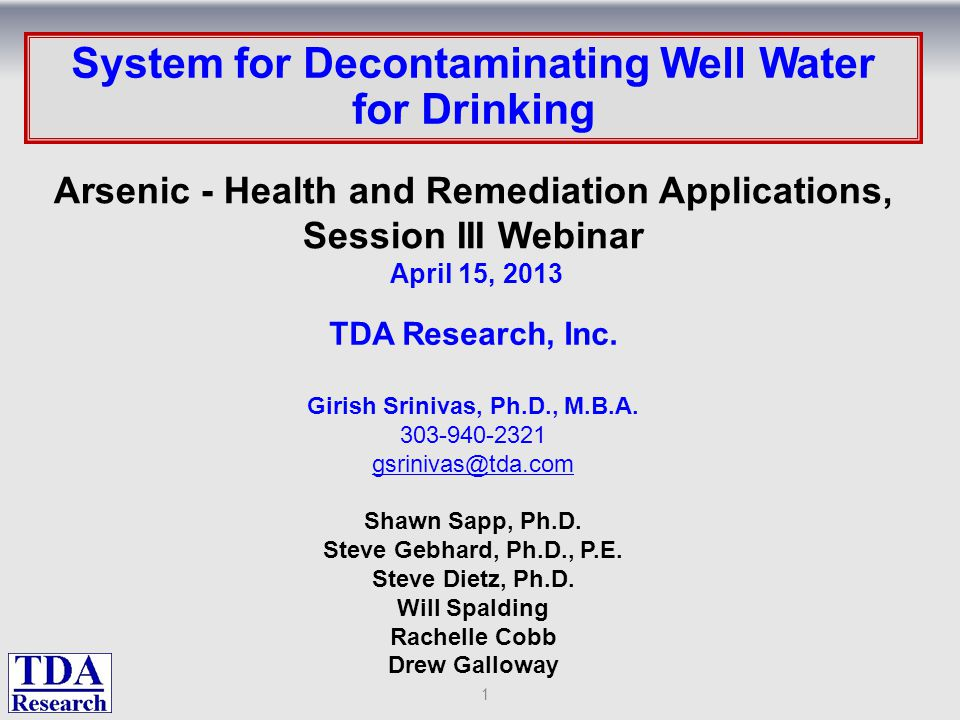 : System for Decontaminating Well Water for Drinking