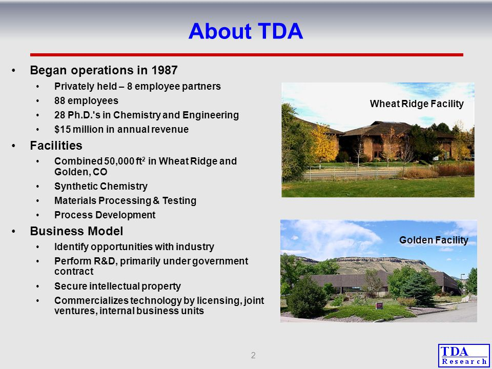 About TDA Began operations in 1987 Facilities Business Model