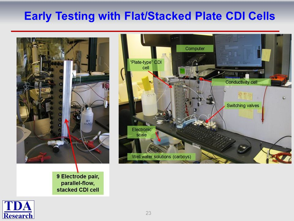 Early Testing with Flat/Stacked Plate CDI Cells