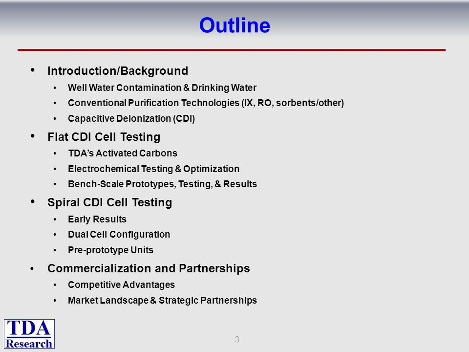 Outline Introduction/Background Flat CDI Cell Testing