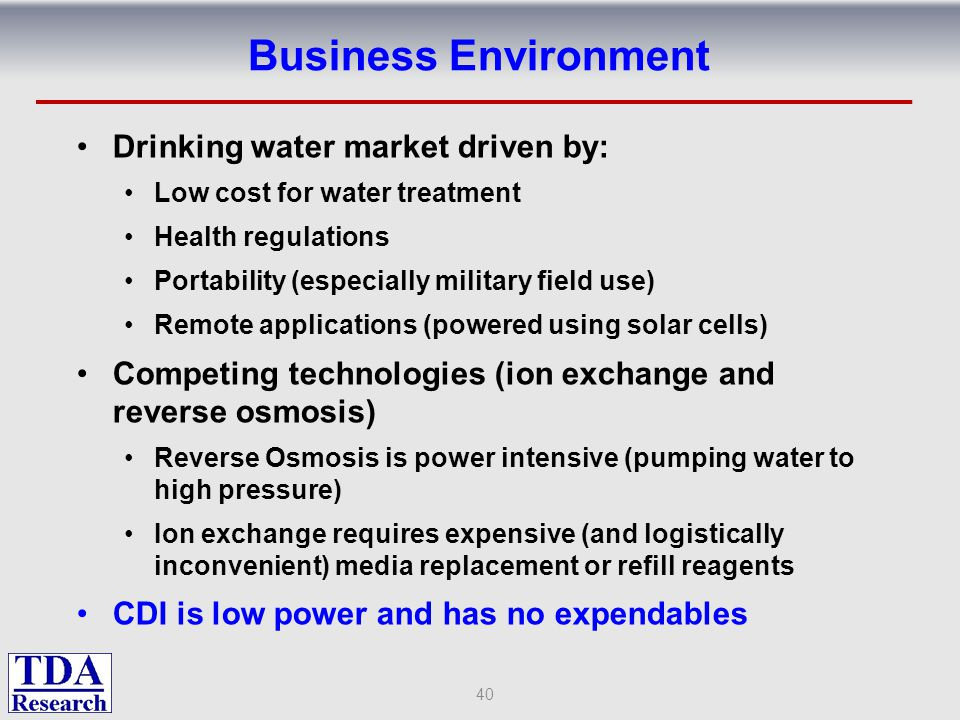 Business Environment Drinking water market driven by: