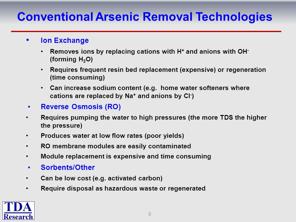 Conventional Arsenic Removal Technologies