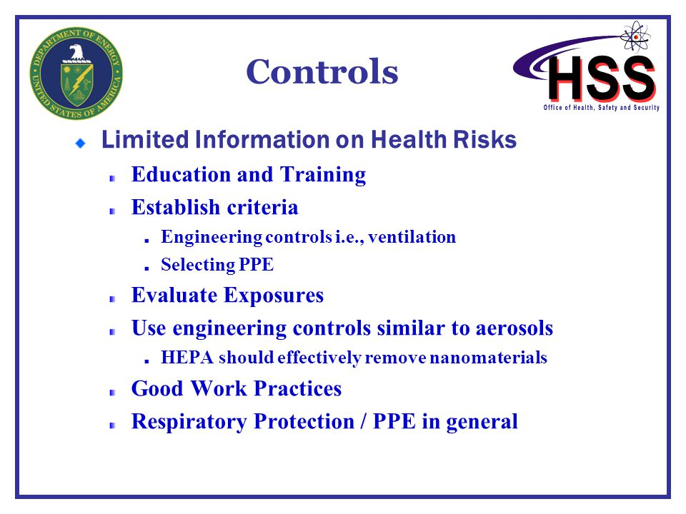 Controls Limited Information on Health Risks Education and Training