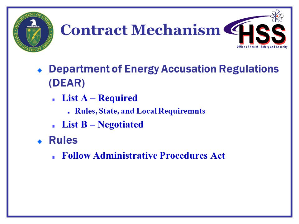 Contract Mechanism Department of Energy Accusation Regulations (DEAR)