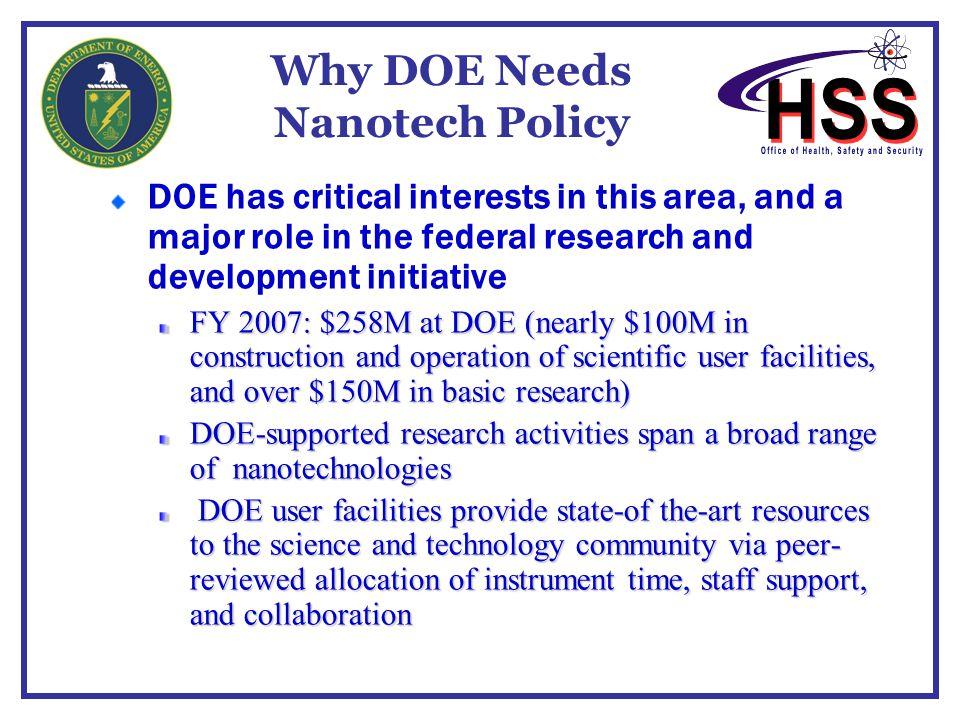 Why DOE Needs Nanotech Policy