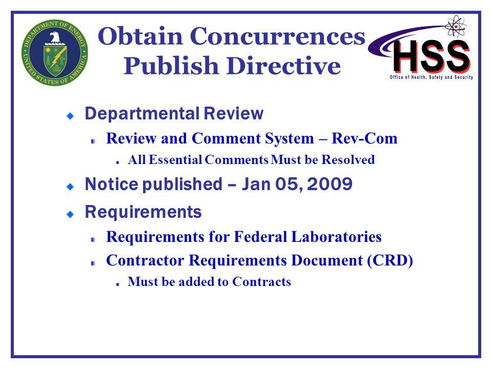 Obtain Concurrences Publish Directive