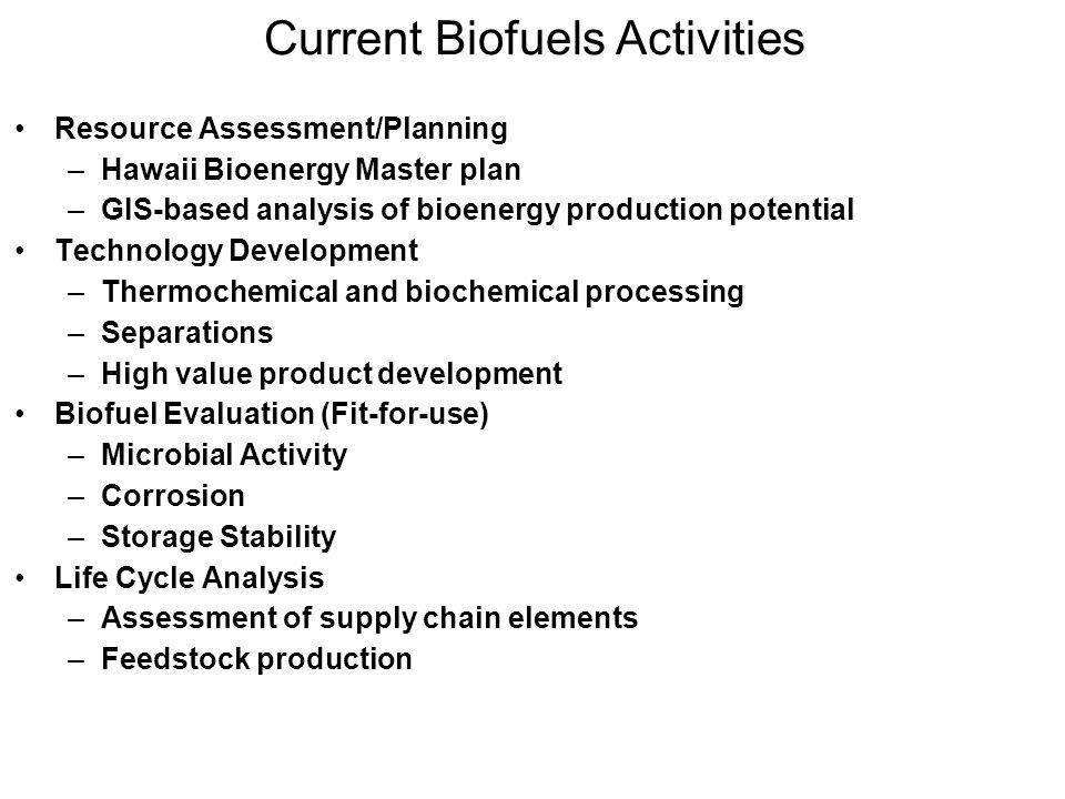 Current Biofuels Activities
