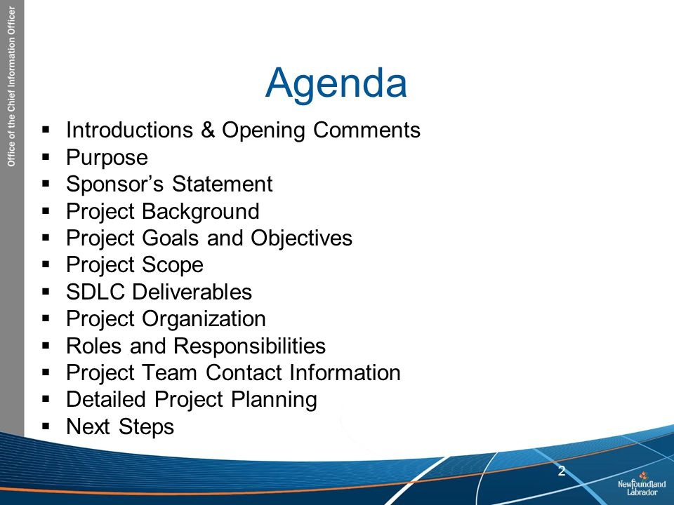 Agenda Introductions & Opening Comments Purpose Sponsor's Statement