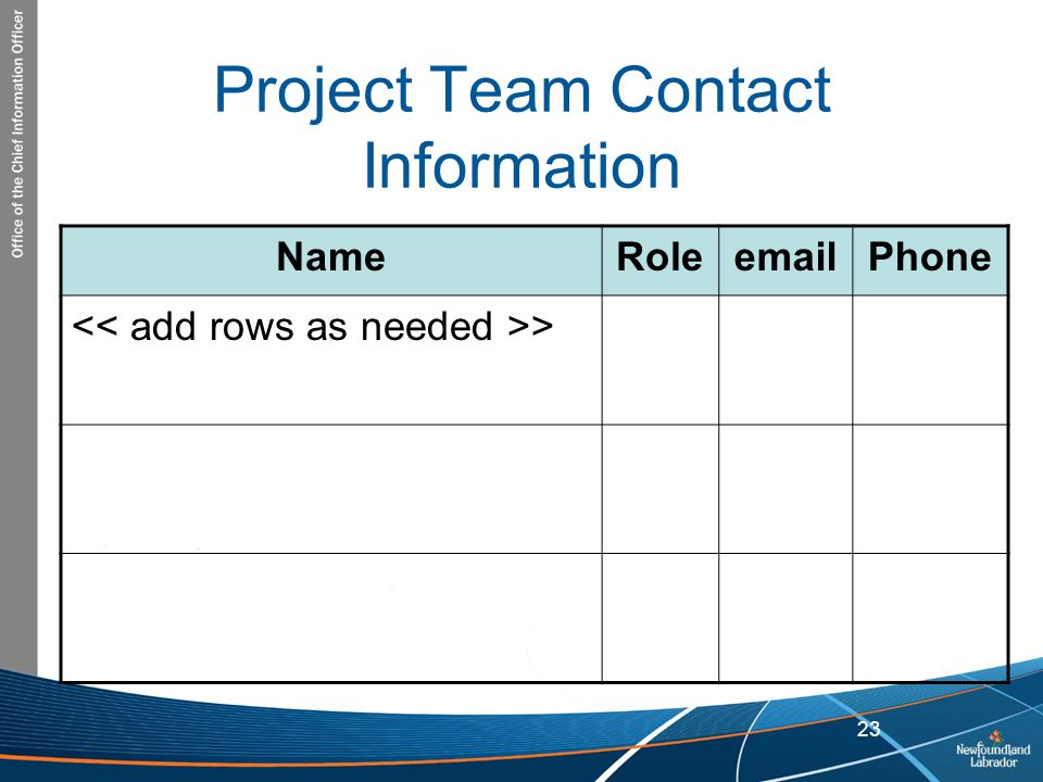 Project Team Contact Information Name Role email Phone << add rows as needed >>