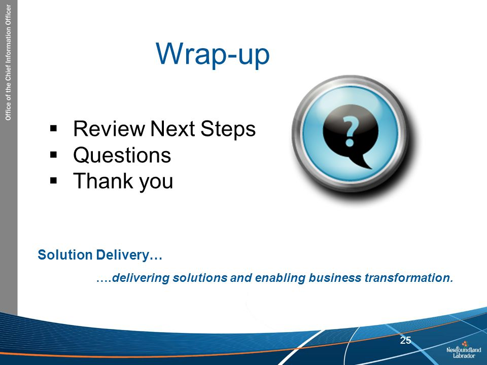 Wrap-up Review Next Steps Questions Thank you Solution Delivery…