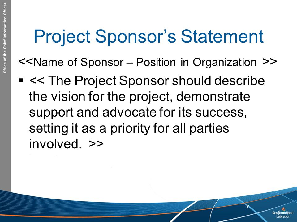 Project Sponsor's Statement