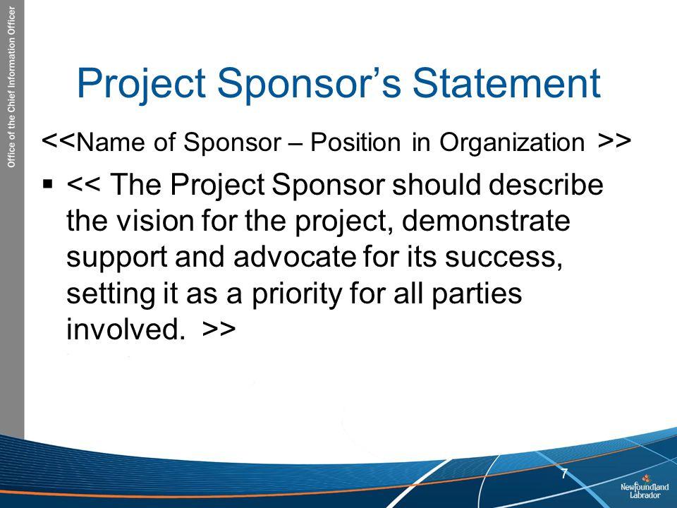Project Sponsor's Statement