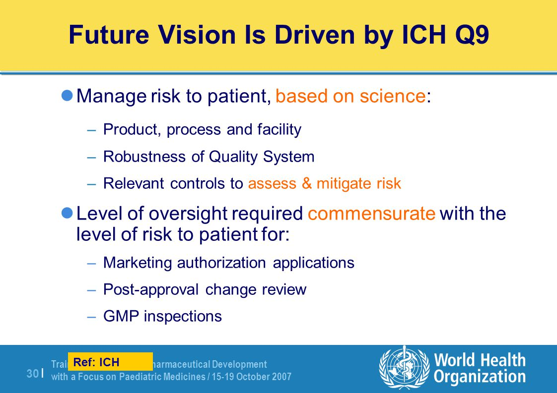Future Vision Is Driven by ICH Q9