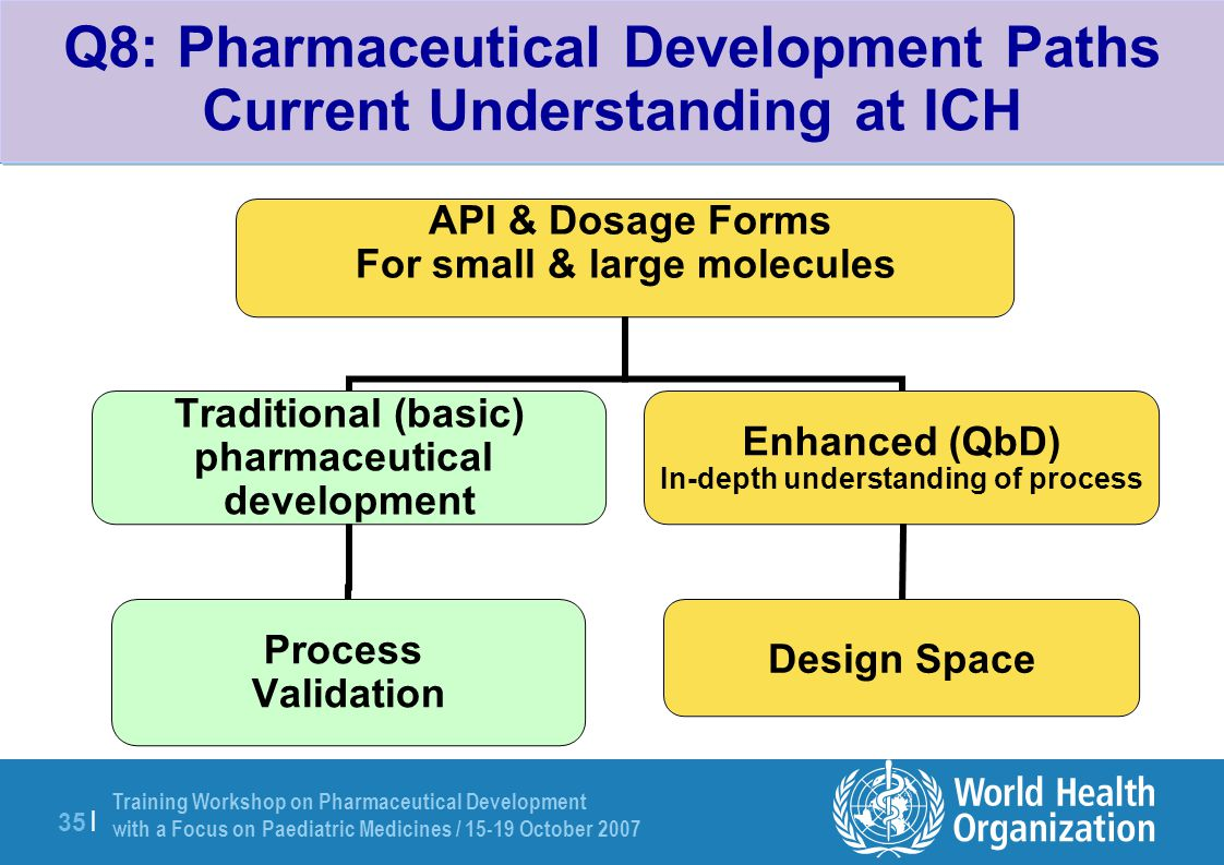 Q8: Pharmaceutical Development Paths Current Understanding at ICH