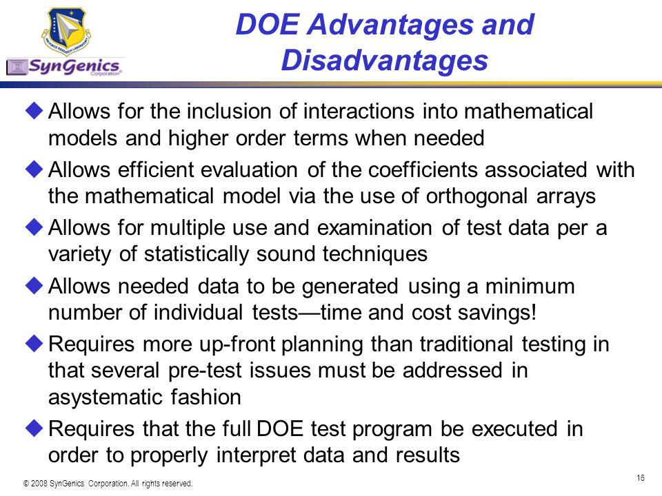 DOE Advantages and Disadvantages