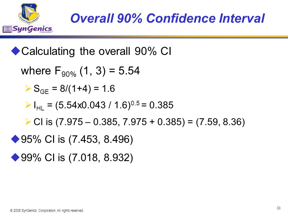 Overall 90% Confidence Interval