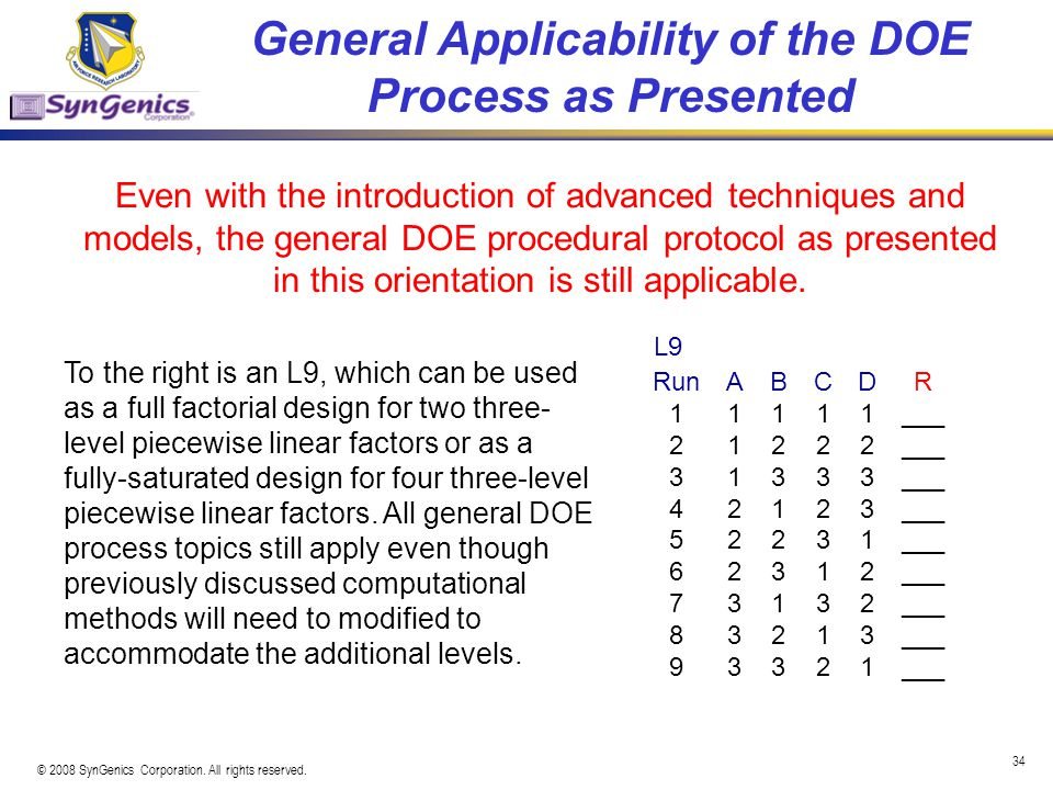 General Applicability of the DOE Process as Presented