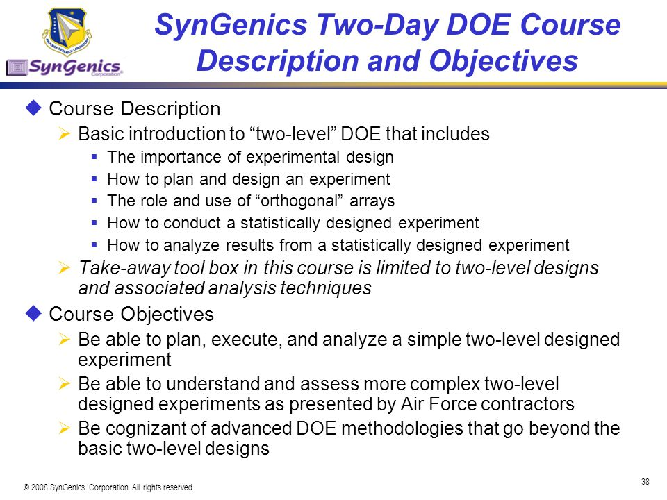 SynGenics Two-Day DOE Course Description and Objectives