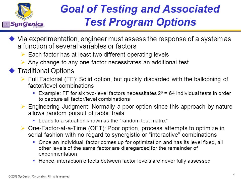 Goal of Testing and Associated Test Program Options