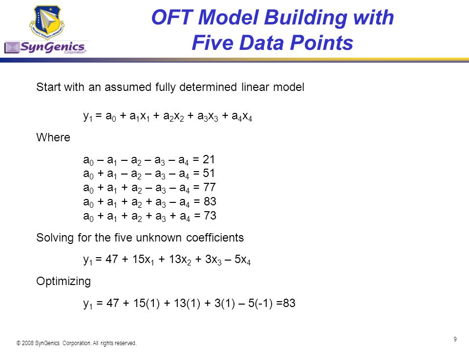 OFT Model Building with Five Data Points