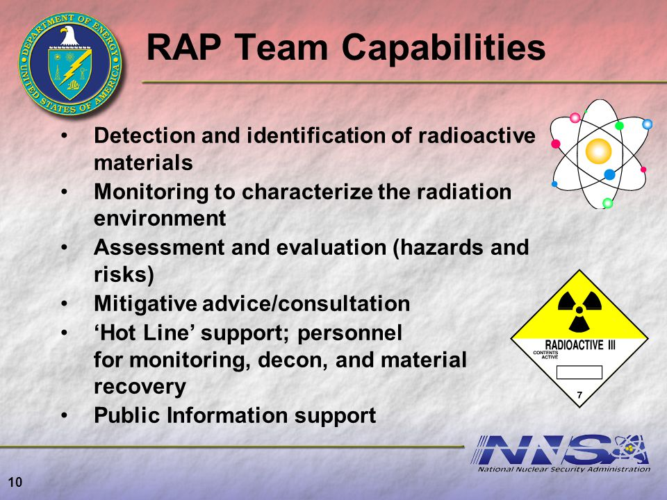 RAP Team Capabilities Detection and identification of radioactive materials. Monitoring to characterize the radiation environment.