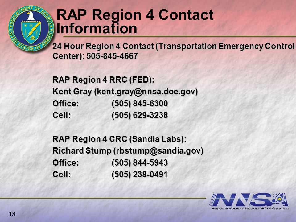 RAP Region 4 Contact Information