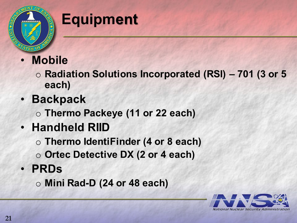Equipment Mobile Backpack Handheld RIID PRDs