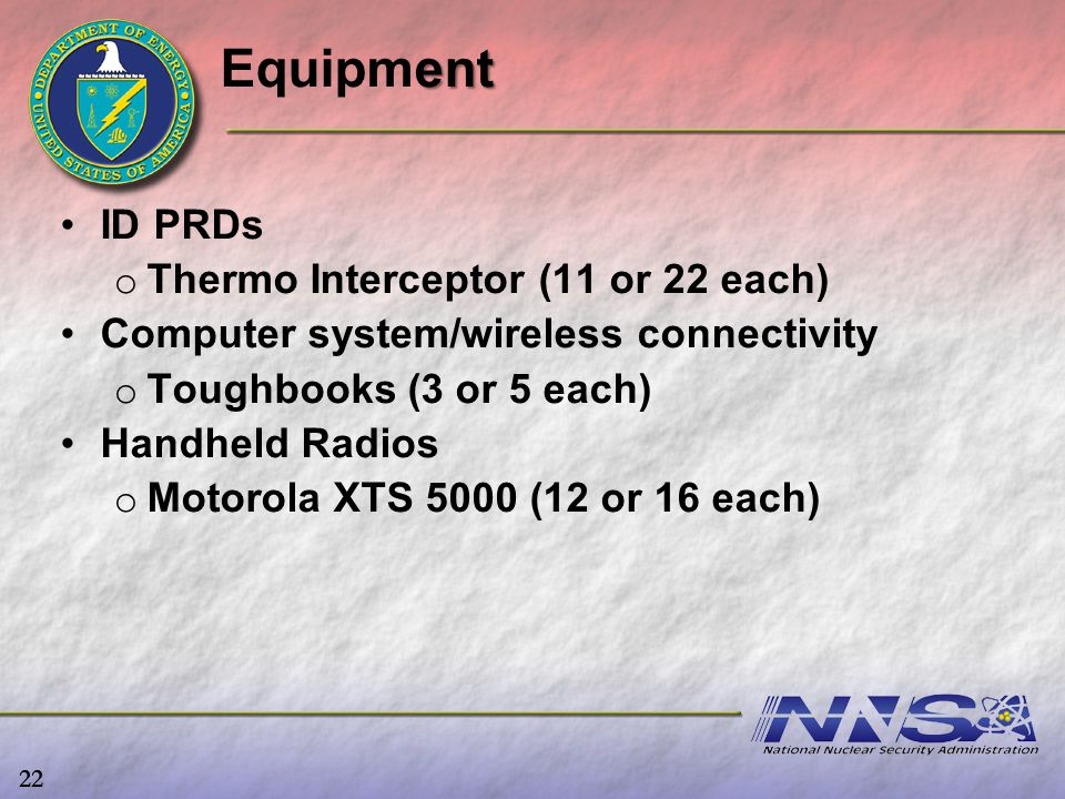 Equipment ID PRDs Thermo Interceptor (11 or 22 each)