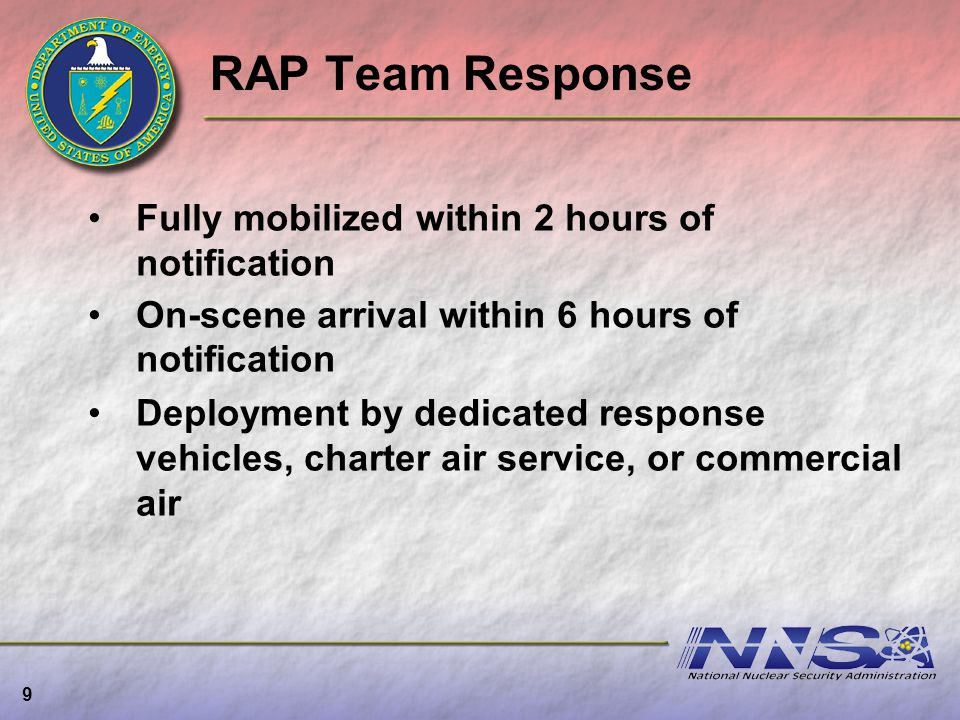 RAP Team Response Fully mobilized within 2 hours of notification