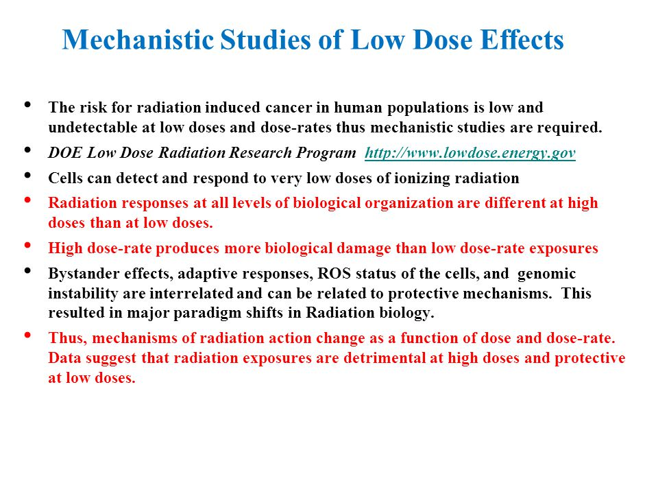 Mechanistic Studies of Low Dose Effects