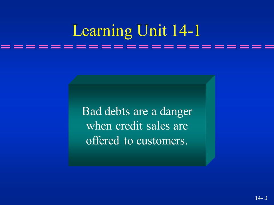 Learning Unit 14-1 Bad debts are a danger when credit sales are