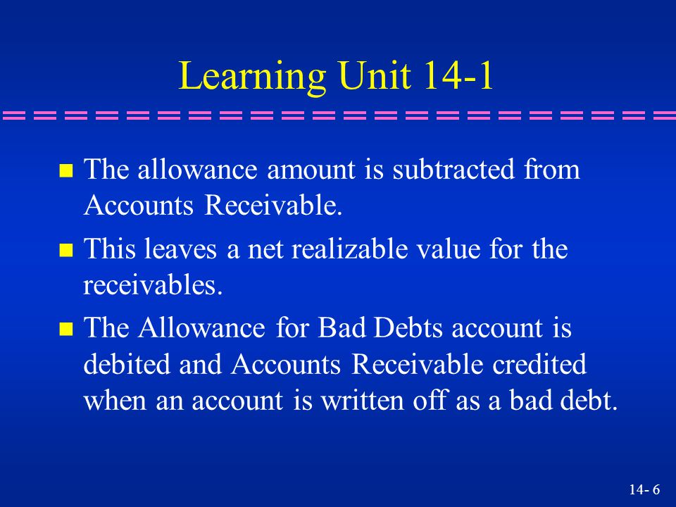 Learning Unit 14-1 The allowance amount is subtracted from Accounts Receivable. This leaves a net realizable value for the receivables.