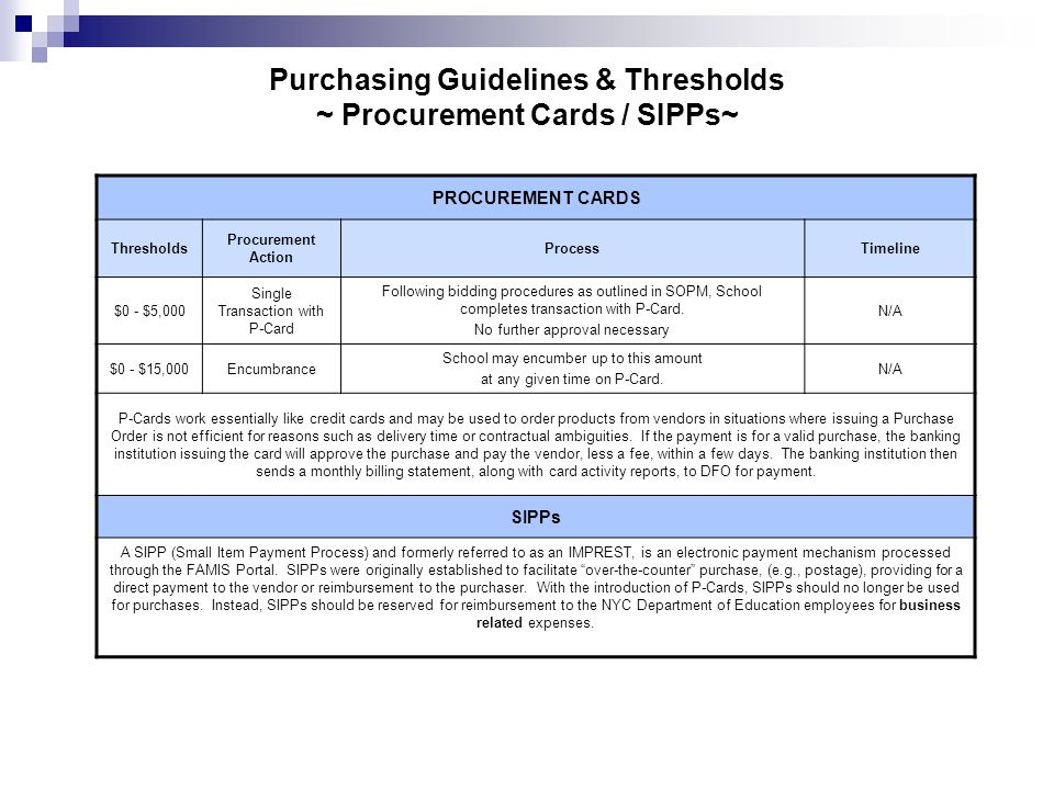 Purchasing Guidelines & Thresholds ~ Procurement Cards / SIPPs~