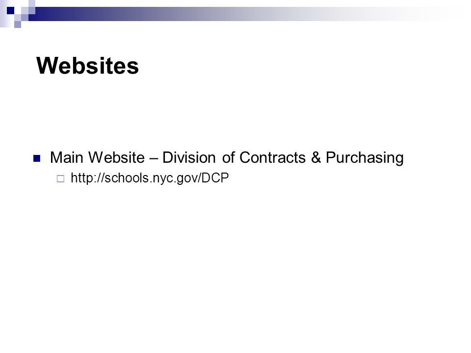 Websites Main Website – Division of Contracts & Purchasing