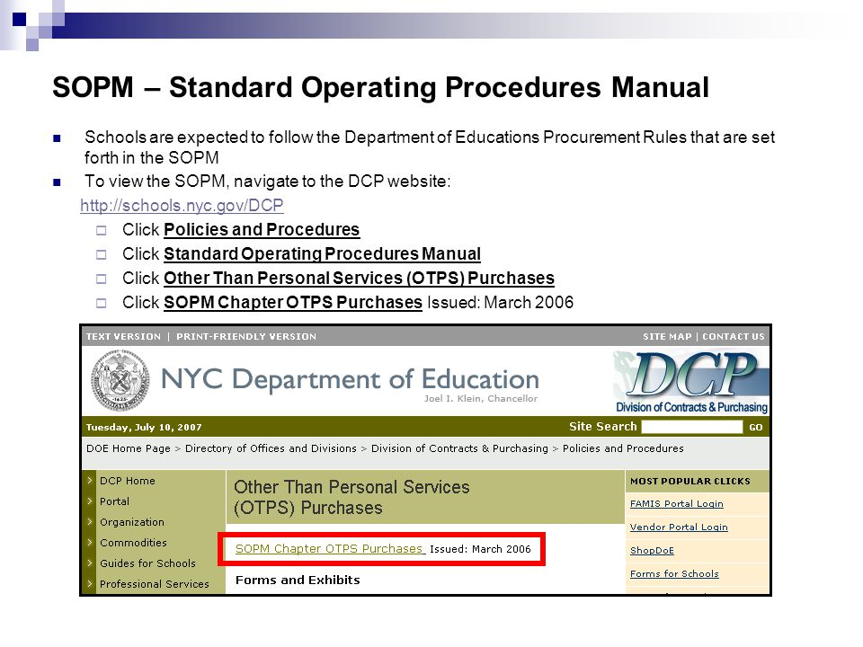 SOPM – Standard Operating Procedures Manual