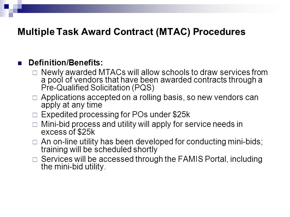 Multiple Task Award Contract (MTAC) Procedures