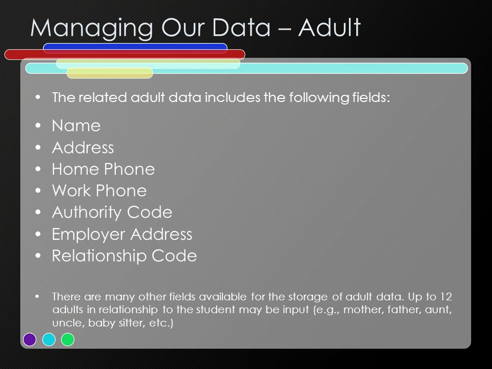 Managing Our Data – Adult