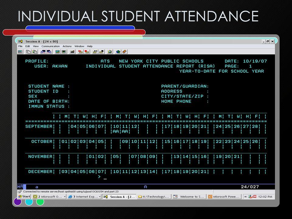 INDIVIDUAL STUDENT ATTENDANCE