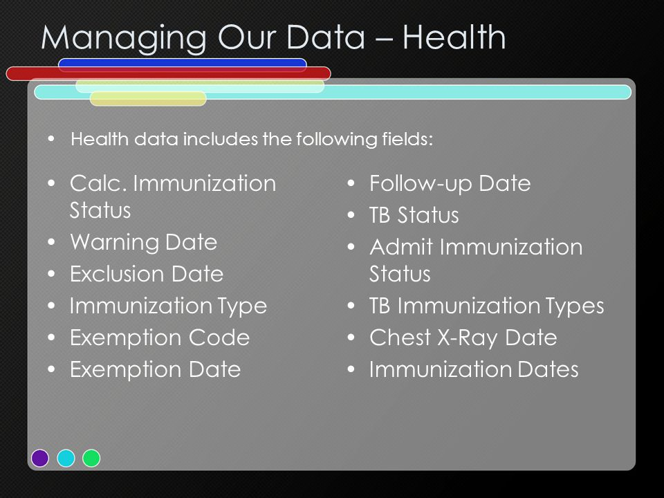 Managing Our Data – Health