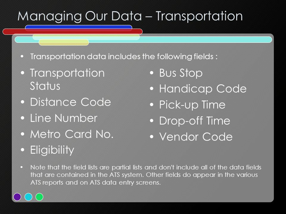Managing Our Data – Transportation